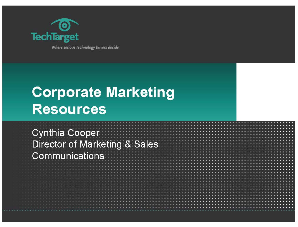 Corporate Marketing Resources Presentation