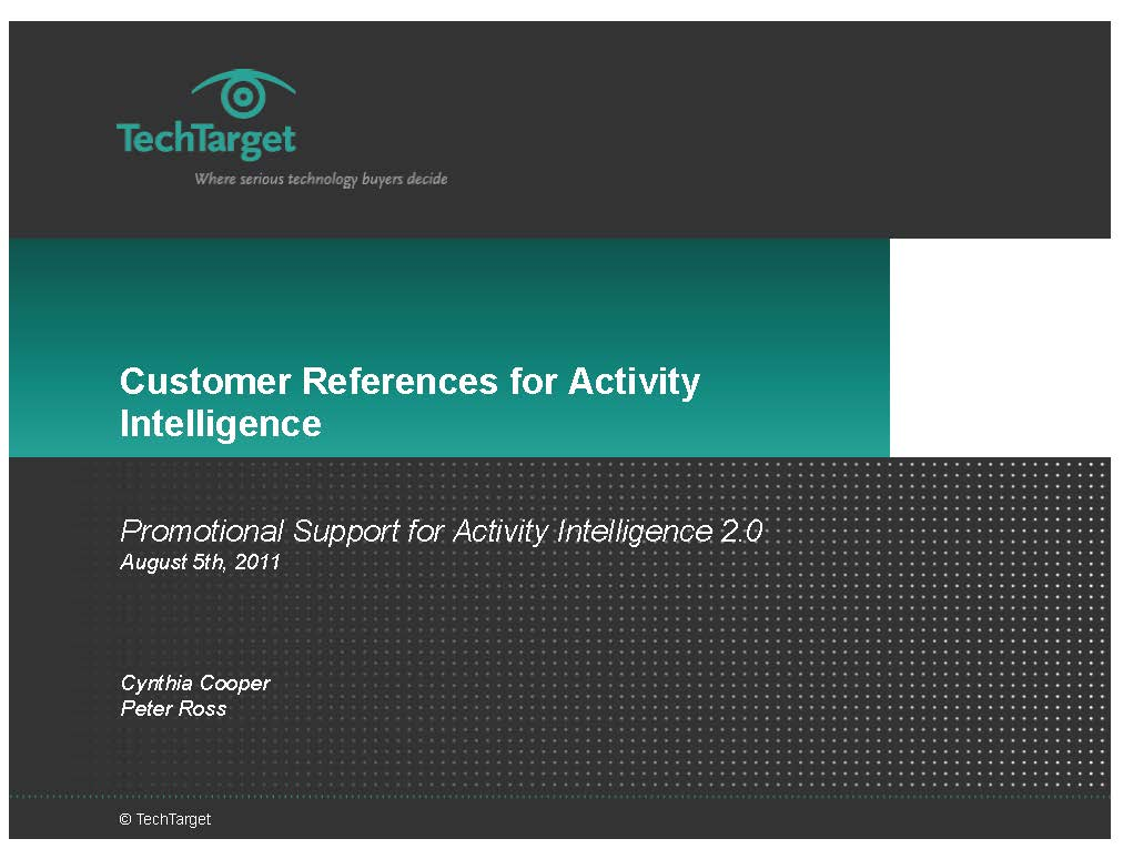 Customer References for Activity Intelligence Presentation