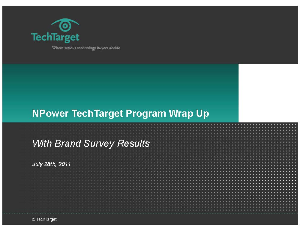 NPower TechTarget Program Wrap Up Presentation